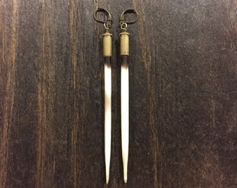 African Porcupine Quill Earrings in Brass Bullet Casings