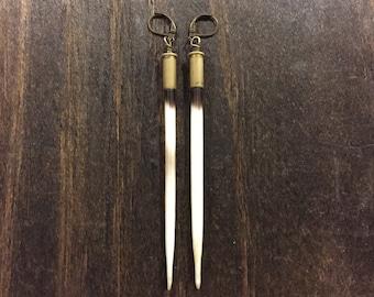 African Porcupine Quill Earrings in Brass Bullet Casings