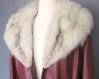 Vintage Burgundy Leather and Fox Fur Collar Wilson's House of Suede Coat Jacket Size Small