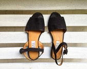 Vintage black suede slingback sandals, womens shoes size 8, 80s, 90s