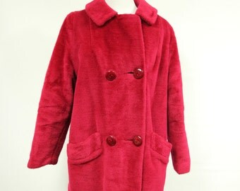 Majestic Vintage Plush Faux Fur Fluffy Red Coat with Swirl Buttons