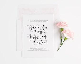 Flowing Calligraphy Wedding Invitations - Deposit