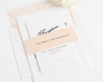 Whimsical Wedding Invitation - Shell, Light Peach, Decorative, Delicate, Sweet - Romantic Wedding Invite - Lovely Script Wedding Invitation