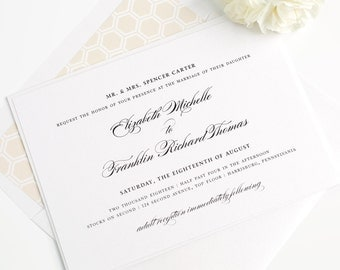 Champagne Wedding Invitation - Gold - Timeless - Elegant - Traditional - Honeycomb - Timeless Elegance Wedding Invitation - Sample Set