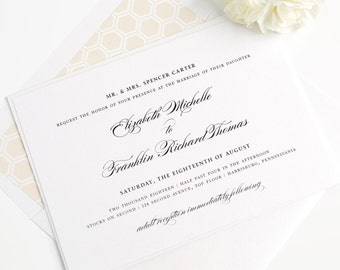 Champagne Wedding Invitation - Gold - Timeless - Elegant - Traditional - Honeycomb - Timeless Elegance Wedding Invitation - Sample Set