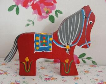 Scandinavian Swedish Red Horse Candle Holder - Handpainted Horse Figurine - Folk Art - Original Vintage