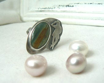 Women Silhouette -Oxidized Sterling silver Ring and Painted Desert Jasper Gemstone - size 6.5 - READY TO SHIP
