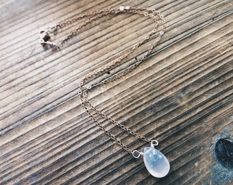 Petite Rose Quartz and Rose Gold Teardrop Gemstone Rose Gold Necklace Bridesmaid Gift Jewelry Wire Wrapped One of A Kind Gemstone Choker