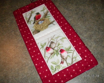 Red Stars Robin  Nest 8 1/2  X 17   Wall Hanging
