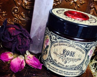 Rose Candle~ All Natural Rose Essential Oil Soy Candle ~ Venus Magick ~ Witchcraft ~ Candle Magick~ 4oz Glass Jar ~ 30 hour burn time