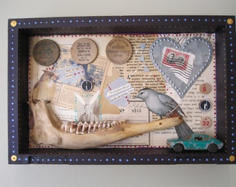 Mixed media assemblage, shadow box, 3D art