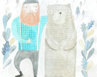 Lumberjack Art print by Rachel Oldfield. Wall Art