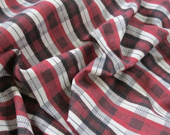 50s 60s Vintage Fabric - Maroon Black White Plaid Cotton - 5 plus yards
