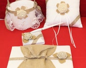 White and Burlap Wedding Set, Ring Pillow, Flower Girl Basket, Pen Set, Guest Book