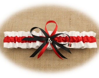Case IH  Themed White and Red Satin Wedding Toss Garter with Tractor Charm