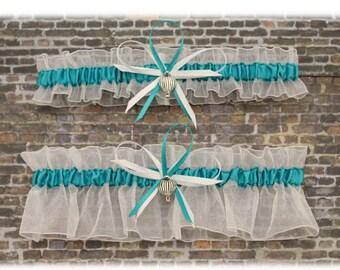 Sheer White and Dark Turquoise Wedding Garter Set