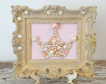 Pearl Crown - Pink and Gold Nursery Art - Princess Crown - Pastel Pink Mosaic - Whitewashed Gold - Glitter picture - 3d Art - Vintage Frame