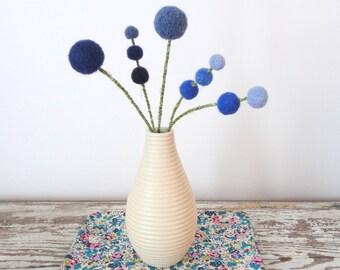 Felt flowers.  Bluebells.  Cobalt blue and denim blue wool Pom Pom Flowers.  Woolly heads.  Mod decor.  Hydrangeas.  Sky blue.  Wool Balls