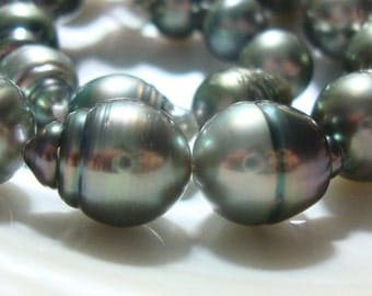 Genuine Tahitian Pearl, Amazing Lustrous, Drilled Black Baroque Tahitian Pearls, 1/2 strand, 10-11.8x13-15.5mm, 30% sale,  n10-1