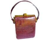 Vintage Handbag, Original Duette, Leather Handbag, Metal Frame, Hinged, Maroon Red, Satin, Change Purse, Ladies Accessories
