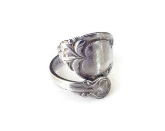 Spoon Ring, Rogers Brothers, Silver Plated, Wrap Bypass Ring, Vintage Ring, Vintage Jewelry, Size 6.75 to 7
