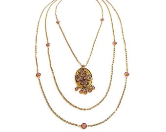 Goldette Crystal Gold Chain Necklace - Multi Stand Necklace, Topaz Amber Crystal, Layering Necklace, Vintage Necklace, Vintage Jewelry