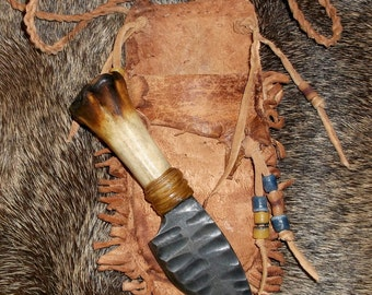 Primitive Mountain Man Neck Knife with Knapped Steel Blade in Decorated Brain Tanned Sheath