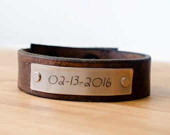 Minimal Custom Date Custom Leather Cuff - Gift for Moms