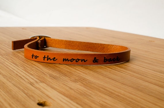 To The Moon and Back Custom Skinny Adjustable Leather Bracelet I Love You
