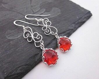 Red Tear Drop Earrings -- Red Scroll Earrings -- Silver & Red Earrings -- Red Glass Earrings -- Red Glass Drop Earrings -- Scroll Earrings