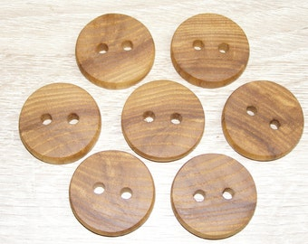 "7  Handmade  ash wood buttons, accessories (1,18"" diameter x 0,24"" thick)"