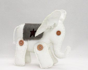 White Elephant - Nursery Decor - Soft Sculpture - Folk Art Doll - Toy Elephant - Baby Shower Gift - Child's Room Decor - INTHEROOM
