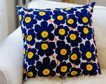 Blue Unikko Pillow Cover | Marimekko Pillow | 20x20 pillow | Modern Design | Poppy pillow | Floral Pillow | Blue Pillow | Handmade Pillow