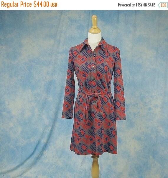 SALE Vintage 70s Kay Windsor Mini Dress, Psychedelic Geometric Print, Sm Med