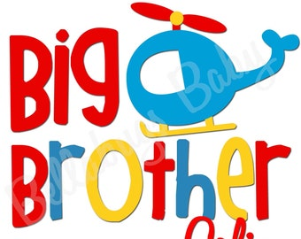 Plane Big Brother IRON ON TRANSFER- Personalized Name - New Baby Brother - Transportation