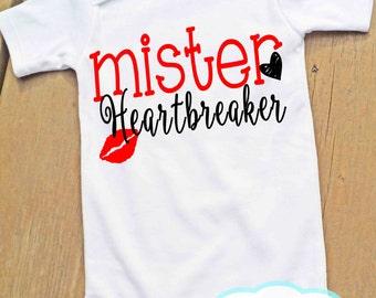 Mister Heartbreaker Bodysuit or Tshirt - Valentine's Day - Boy Shirt or Bodysuit