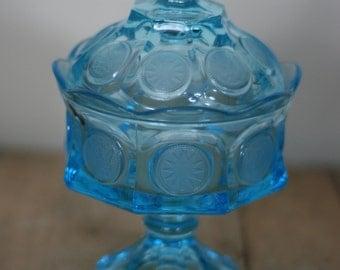 vintage blue coin candy jar