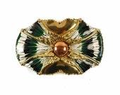 Brutalist COPPER and BRASS Statement Belt Buckle - Green Tie Dye BOHO Enamel Jewelry - Sash and Scarf Belt - Art Nouveau - Vintage 60s