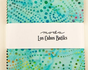 "Los Cabos Batiks by Moda for Moda ~ 100% Cotton ~ 40 / 5"" Square Charm Pack"
