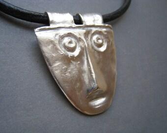 Unisex Fine Silver Face Pendant - Face Necklace - Fine Silver Pendant - Archaeology