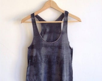 Hand Dyed Gray Shadow Tank Top