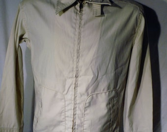 Mens Vintage 70s McGREGOR Brand Drizzler Talon zipper fly Usa made Beige Work Jacket sz 38 with Two pockets
