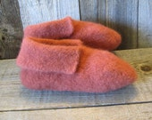 Fuzzy Slippers Sedona Clay Felted Wool W 8-9, M 6-7 shoe size