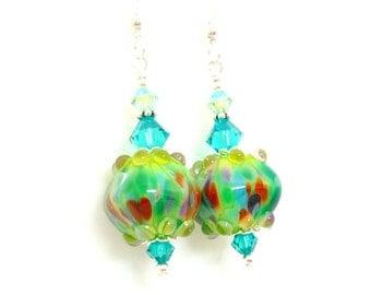 Bright Colorful Earrings, Lampwork Earrings, Glass Earrings, Beadwork Earrings, Unique Earrings, Glass Art Earrings, Glass Bead Earrings