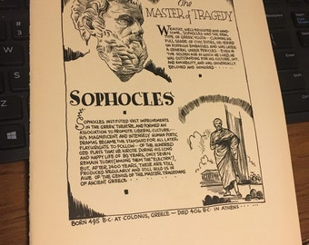 Book page print Sophocles master of the tragedy. 7x11aporox. Great for framing for the collector.