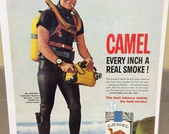Camel cigarettes ad circa 1963 scuba diver 11x15 approx color print ad.