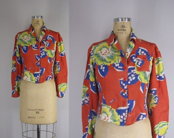 1940s blouse / 40s rayon tropical print blouse / Lost Paradise blouse