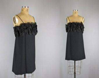1960s Vintage Dress l 60s Black Ruffle Bodice Cocktail Dress