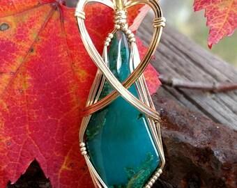 Inspiration Mine Gem Silica Chrysocolla Pendant in Gold Fill