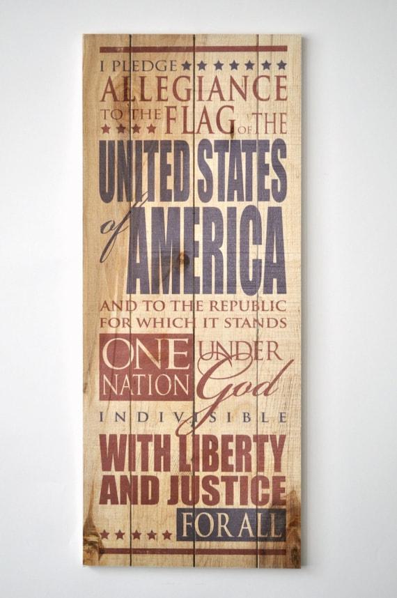 Pledge of Allegiance Patriotic rustic wood pallet sign 9x22